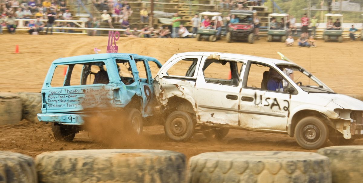 Mini size class derby cars crashing each other up